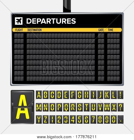 Airport Board Vector. Mechanical flip airport scoreboard. Black airport and railway timetable departure or arrival. Destination airline board abc. Vector airport board poster