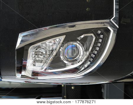 Abstract modern car headlight or headlamp with LED elements