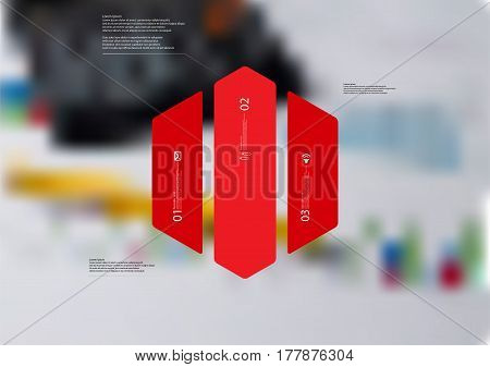 Illustration infographic template with motif of hexagon vertically divided to three red standalone sections. Blurred photo with financial motif with charts and calculator is used as background.