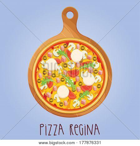 The real Pizza Regina. Pizza Queen. Italian pizza on wooden board. Vector illustration.