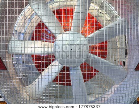 Close up of a powerful large industrial fan turbine