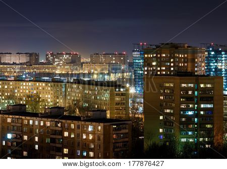 Night Moscow Cityscape From Rooftop. Residential Dormitory Area At Night.