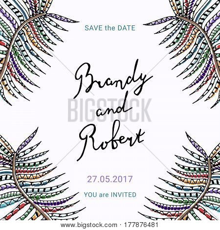 Save the Date card with hand drawn lettering and delicate floral detail. Wedding invitation vector template.