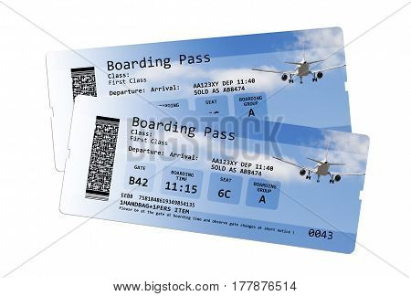 Airline boarding pass tickets isolated on white - The contents of the image are totally invented. Note for the Ispector: The contents of the image are totally invented. The writings are not subject to copyright anyway the codes the QR code are totally inv