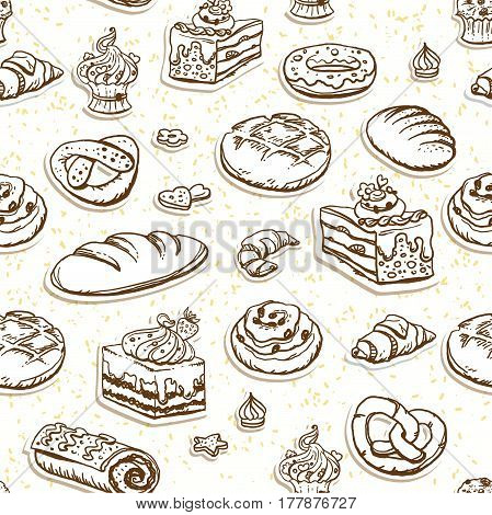Bread and pastry sketch seamless pattern. Food background