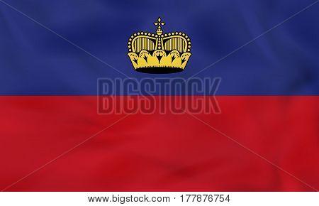 Liechtenstein Waving Flag. Liechtenstein National Flag Background Texture.