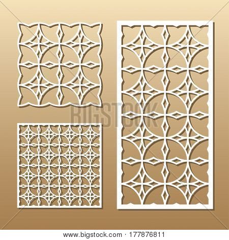 Die cut card. Laser cut vector panel. Cutout silhouette with geometric pattern. A picture suitable for printing, engraving, laser cutting paper, wood, metal, stencil manufacturing.