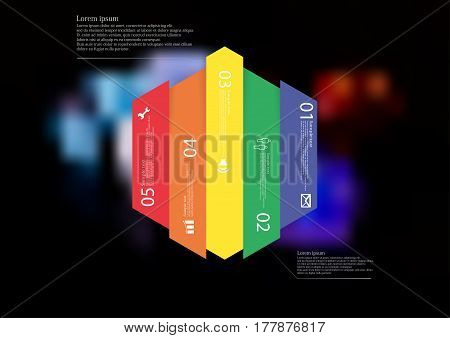 Illustration infographic template with motif of hexagon vertically divided to five color shifted standalone sections. Blurred photo with colorful game dices motif on black board is used as background.