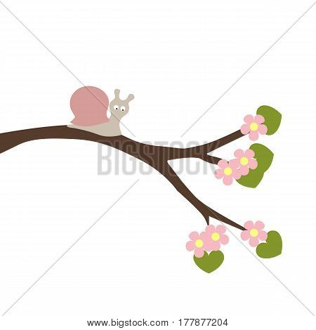 spring baby illustration of a snail on a branch of a flowering tree. a template for stickers or greetings. baby shower or arrival. cute vector illustration