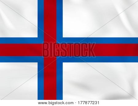 Faroe Islands Waving Flag. Faroe Islands National Flag Background Texture.