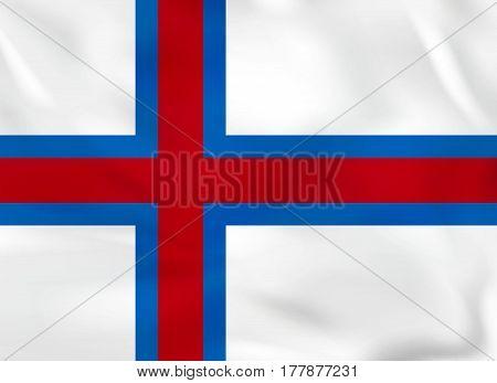 Faroe Islands Waving Flag. Faroe Islands National Flag Background Texture.