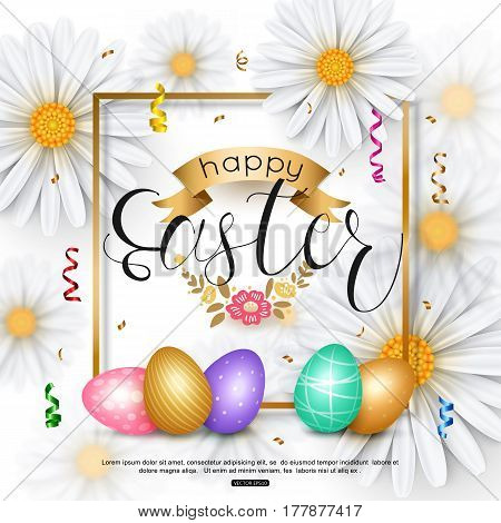 Easter background with chamomile spring flower, egg, confetti. Vector illustration