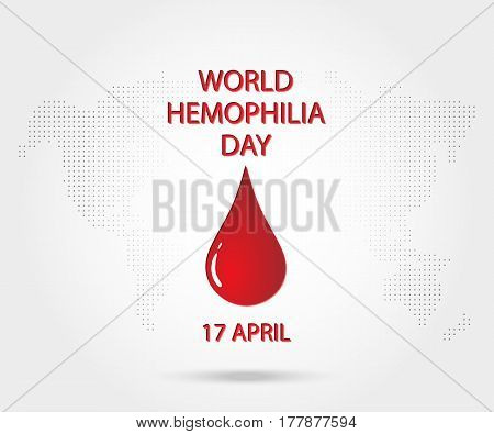 World Hemophilia Day 17 April, Red Blood Drop. Vector Illustration Eps 10.