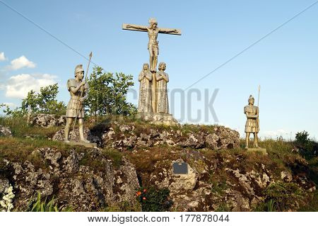 The Way of Jesus Christ: the death of Jesus on the cross. (A statue on the Holy Mountain in the Ternopil region Ukraine)