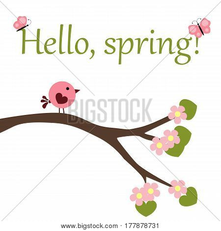 cute baby poster Hello to spring with a bird on a blossoming branch of a tree and butterflies on a white background. the soul of the child. vector illustration