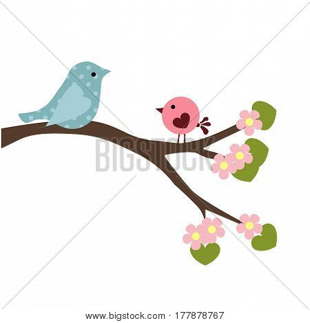 spring baby illustration of couple birds on the branch of a flowering tree on white background. a template for stickers or greetings. baby shower or arrival. cute vector illustration