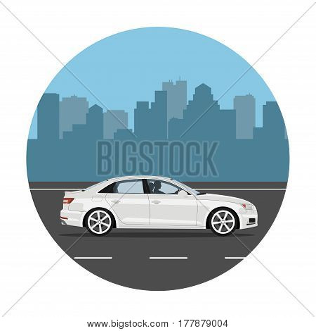 Car on the road over city background. Man driving the white sedan. Vector illustration. Flat design without gradients.