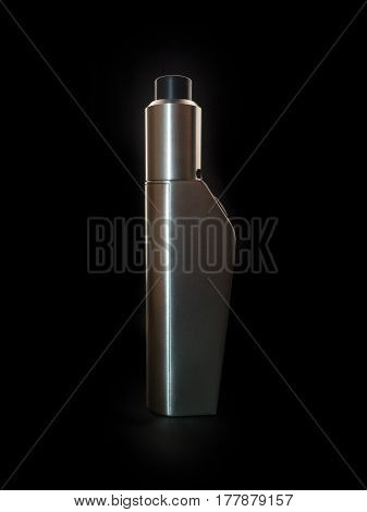 Electronic Cigarette. The Metal Device On One Battery Isolated On A Black Background.