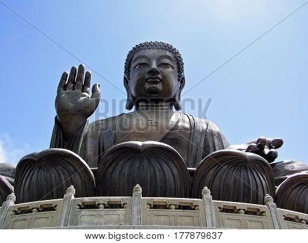 Giant Tian Tan Buddha in Ngong Ping, Lantau Island, in Hong Kong