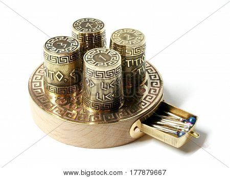 Collection set ot four thimbles on wood base with box for needles. Thimbles with etching with Greek aphorisms.