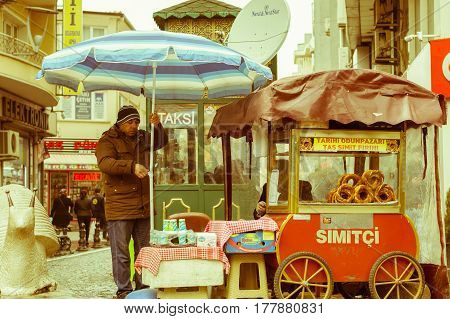 Eskisehir, Turkey - March 13, 2017: Cart With Traditional Turkish Pastry