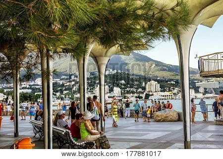 Crimea.Ukraine.Aug 20 2011.View of the embankment of Yalta on the southern coast of the Crimea