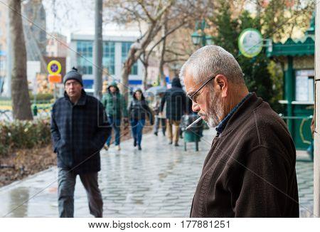 Eskisehir, Turkey - March 13, 2017: People Walking In The Street