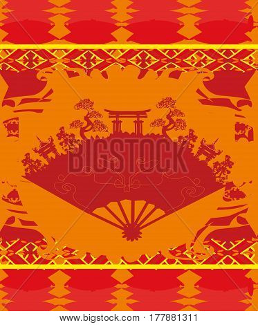 Beautiful Japan abstract ancient buildings range - card , vector illustration