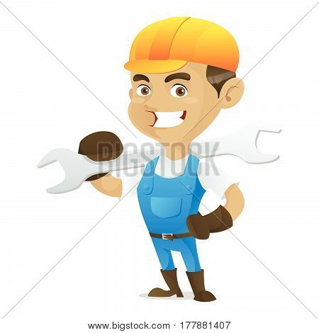 Handyman Carrying Wrench