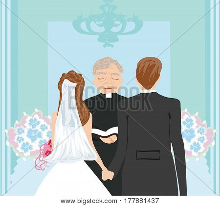 Wedding couple and the priest , vector illustration