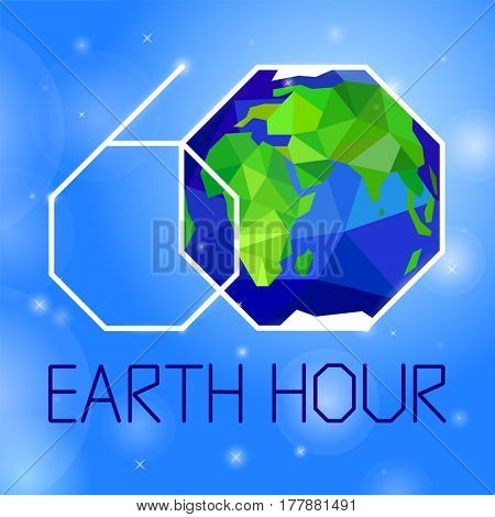 Earth hour banner or poster neon style. Event with Earth, space, stars and text on blue sky