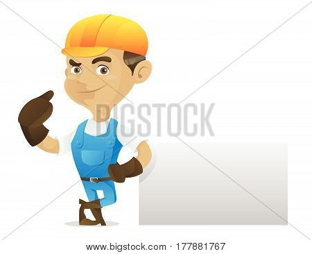 Handyman Leaning On Blank Sign