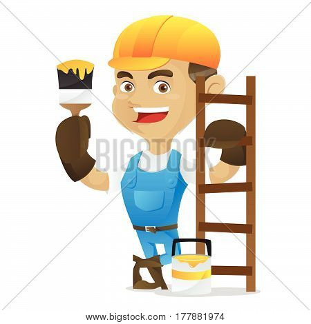 Handyman Holding Paint Brush And Leaning On Ladder