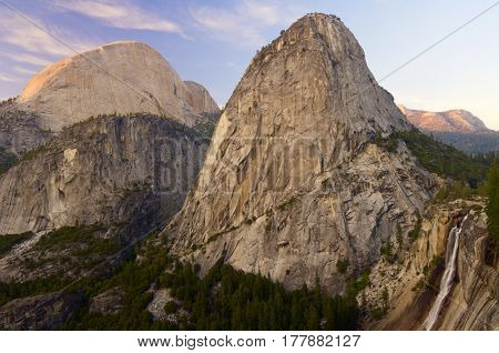 Liberty Cap and Half Dome in Yosemite National Park, California, United States.