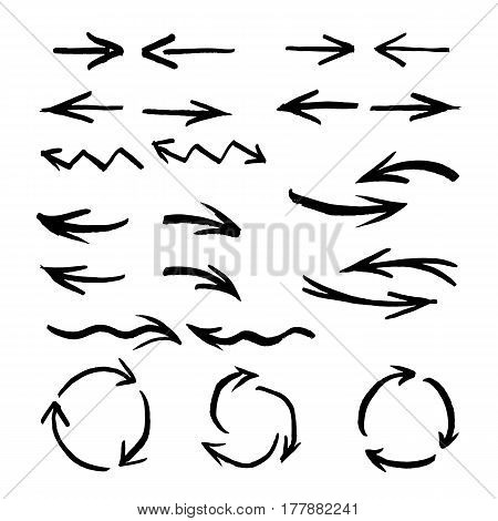 Collection of arrows and design elements. Vector brush stroke sketch set.