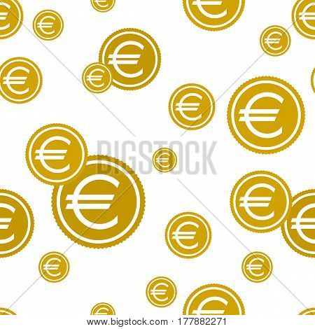 Euro coins seamless background. vector illustration. The Euro Sign. icon.