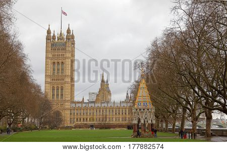 LONDON GREAT BRITAIN - FEB 27 2017: Palace of Westminster from the side where Big Ben is not visible. February 27 2017 in London Great Britain