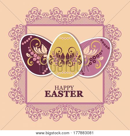 Easter Eggs with flower. Vector illustration, can be used for creating holiday greeting card, banner or poster