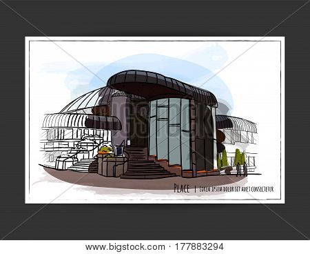 Architectural vector color sketch with watercolor strokes. Colorful postcard with a picture of a modern building.