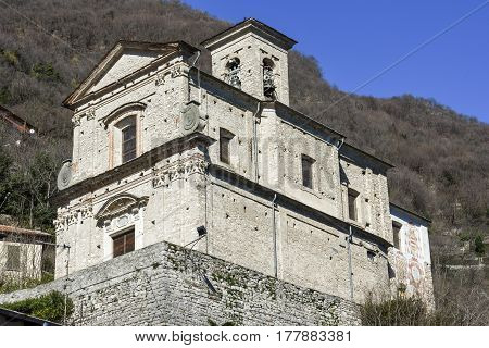 Oria, Italy 10 March 2017: Church of Oria in the municipality of Valsolda Italy
