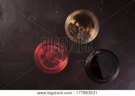 Glasses Of Red, Pink And White Wine