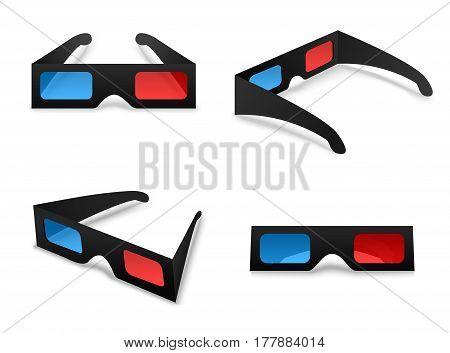 3d glasses isolated collection set on a white background vector illustration. Element for watching movies in cinema. The concept symbol elementary stereoscopic viewing for your projects.