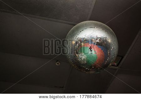 Disco ball with a smooth surface in a nightclub. Entertainment facilities