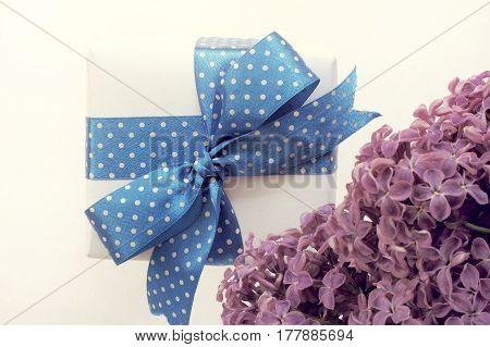 gift tied with a blue ribbon and a bow next to a branch of lilac flowers / festive spring greeting