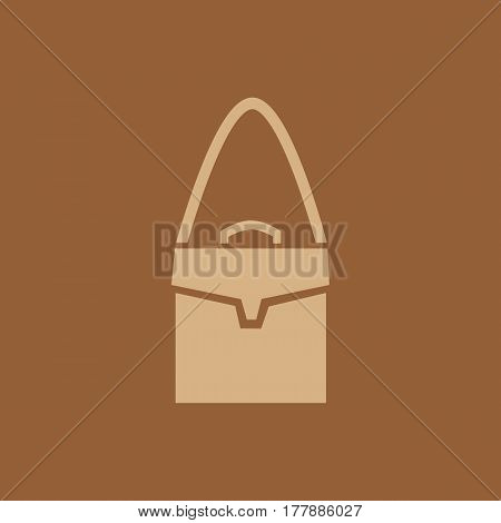 Handbag icon. Leather fashion bag sign. Simple object isolated on white, retail logo template. Freehand drawn flat style. Vector illustration