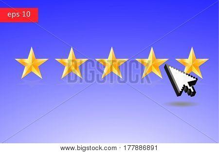 Five stars and arrow cursor vector illustration. Choose 5 stars