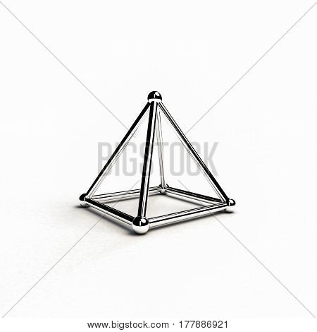 3d illustration of a metal pyramid isolated on white background