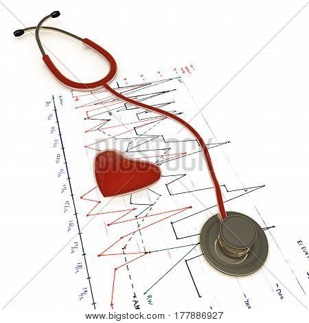 3d illustration of a red stethoscope on ecg test results isolated on white background