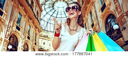Woman With Shopping Bags In Galleria Pointing On Something