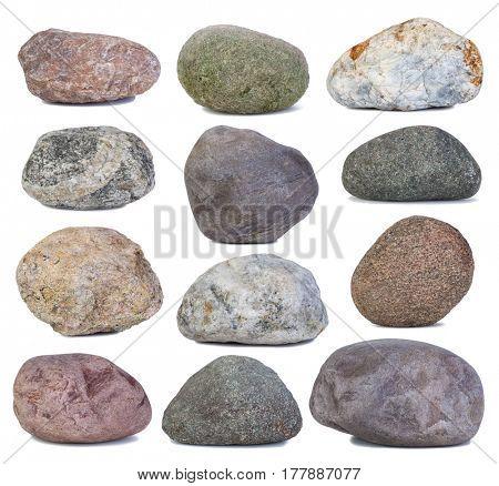 Set of stones isolated on white background